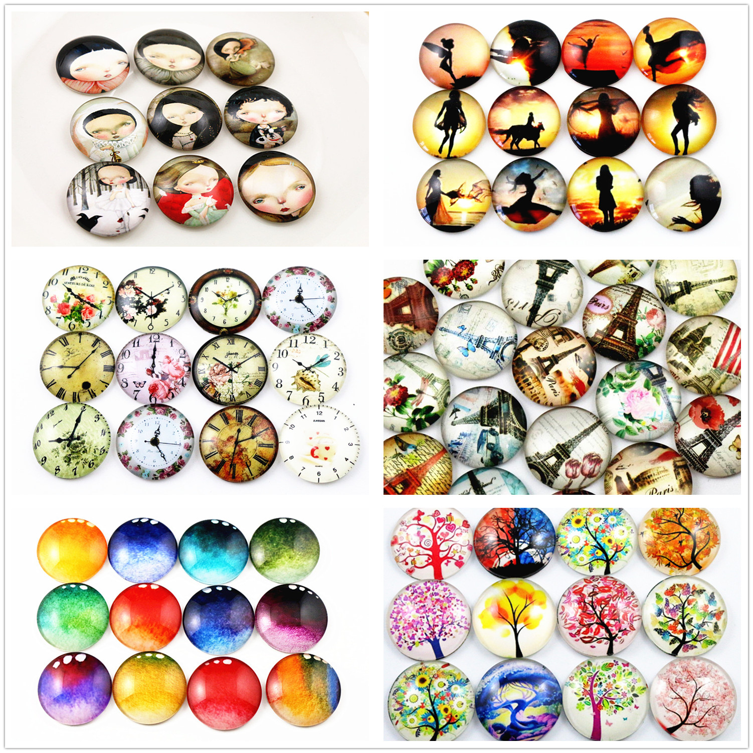 Hot Sale 10pcs 25mm New Fashion 6 Style Mixed Handmade Glass Cabochons Pattern Domed Jewelry Accessories Supplies