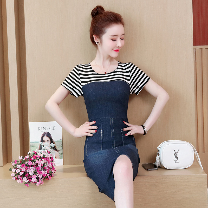 Photo Shoot 2019 Summer Wear New Style Short Sleeve Striped Joint Fake Two-Piece Laziness-Style Skirt Large Size Dress Medium-le