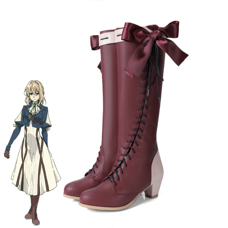 New Anime Violet Evergarden Cosplay Shoes Violet Evergarden Boots Zipper-up Halloween Carnival Party Shoes For Women Size 35-45