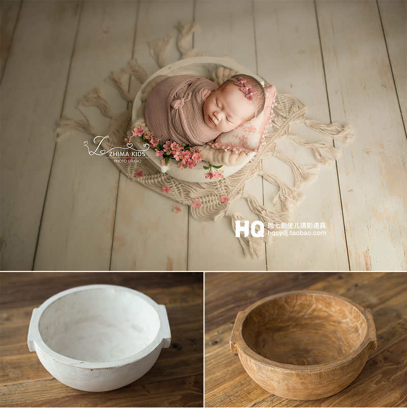 2020 Vintage Newborn Photography Basket Wooden BowlBaby Photoshooting Props Classic Infant Photo Wooden Bowl Studio Wood Crib Ba