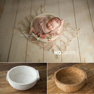 2020 Vintage Newborn Photography Basket Wooden BowlBaby Photoshooting Props Classic Infant Photo Wooden Bowl Studio Wood Crib Ba