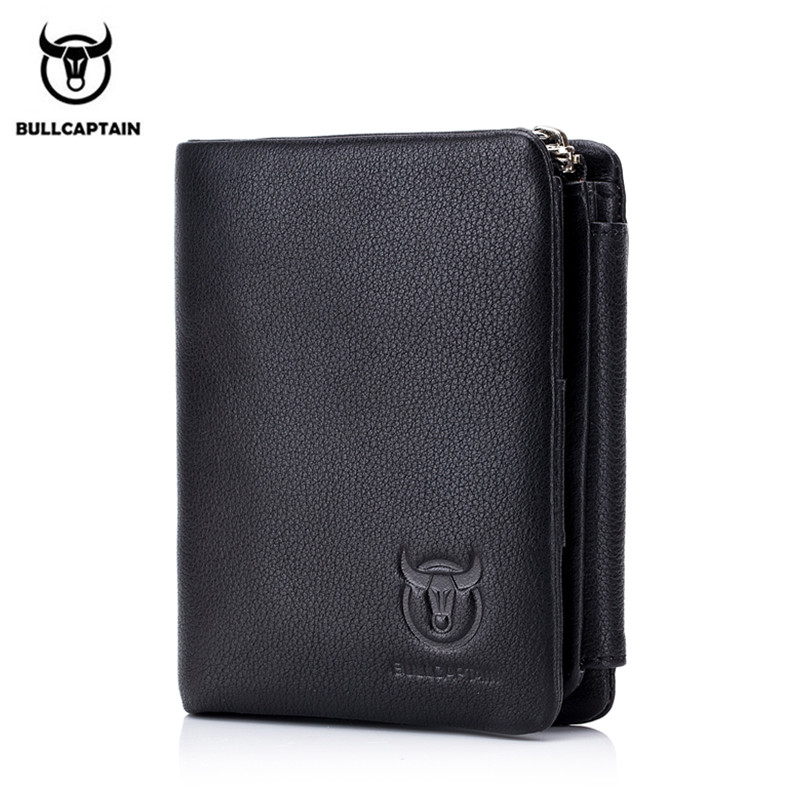 BULLCAPTAIN Genuine Leather RFID Retro Wallet Men 3 Fold Small Short Zipper wallet card bag men Wallets clutch with Coin Purse