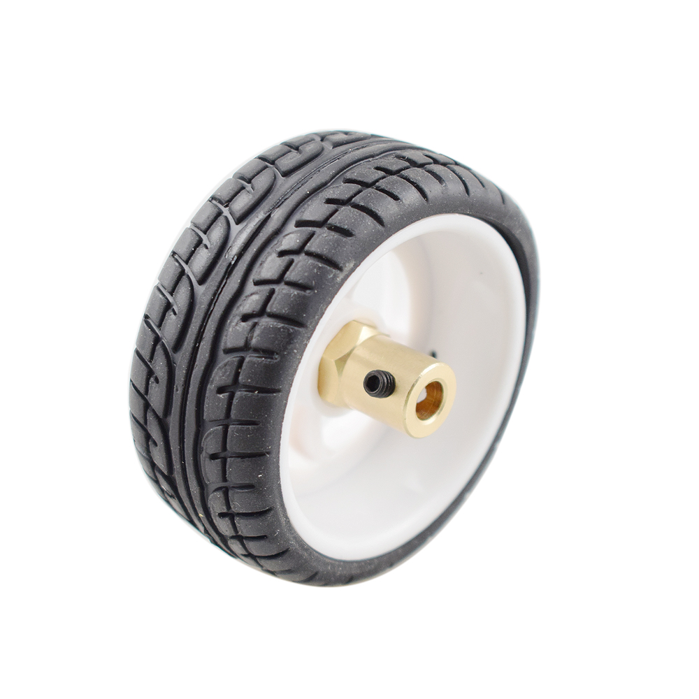 High Quality 65mm Plastic Wheel Tires with 6mm Metal Hubs for Arduino Robot Car Chassis