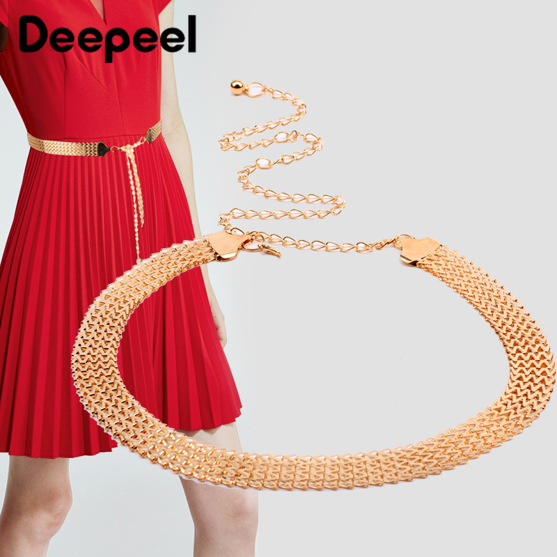 Deepeel 2/4pcs 110cm Women Metal Wide Cummerbunds Exquisite Decoration Chain Girdle Adjustable Twotwinstyle Belt For Dress CB659