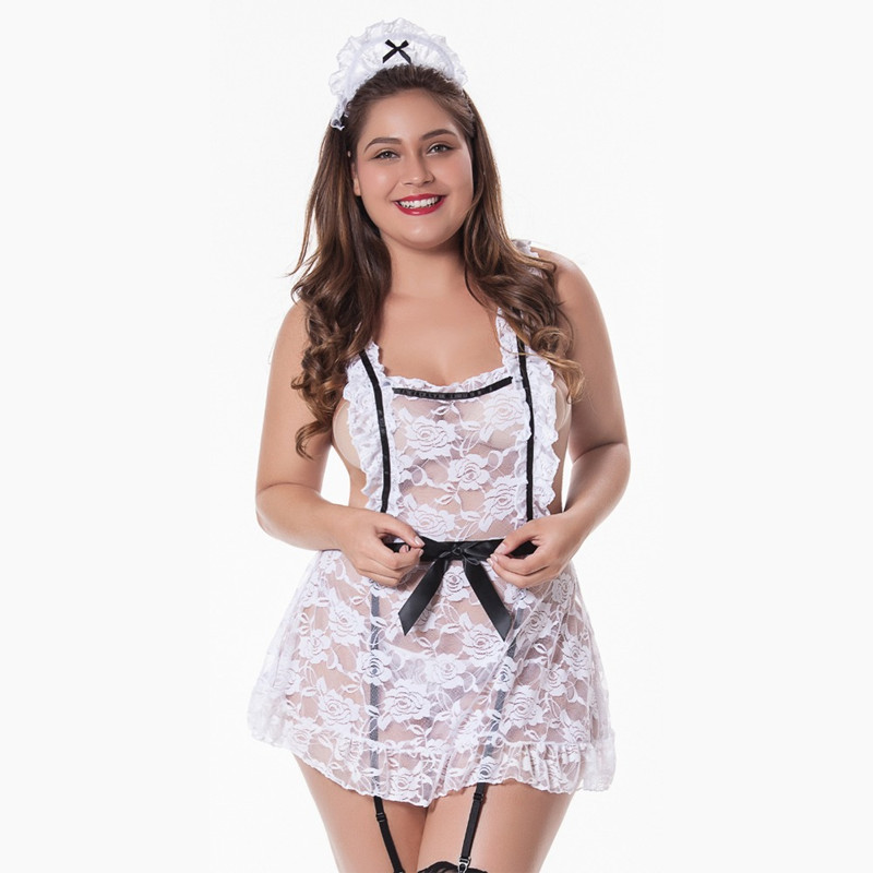 Women Sexy Uniform French Maid Costumes Wet Role Playing Adult Sexy Lingerie Lace Dress With Headwear Sleepwear Disfraz Mujer