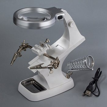 Welding Magnifying Glass with LED Light 3X-4.5X lens Auxiliary Clip Loupe Desktop Magnifier Third Hand Soldering Repair