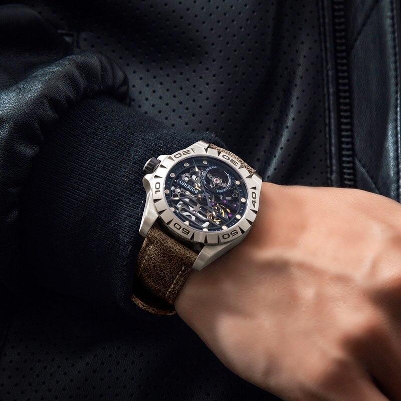 Boderry городской мужские титановые часы от топ бренда, Роскошные Модные Скелет автоматические механические Водонепроницаемый часы Relogio Masculino
