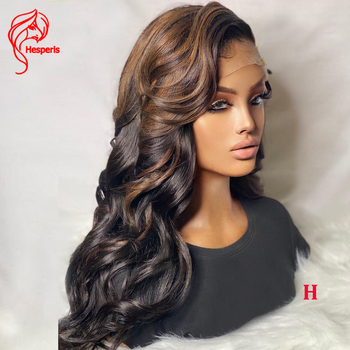 Hesperis 360 Lace Frontal Wigs With Highlight Brazilian Remy 13x6 Human Hair Lace Front Wigs Side Part 180 Density Wave Wigs