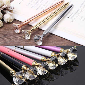 100 pcs Luxury Crystal Pen 14cm Long Diamond Wafer Metal Ballpoint Pen 0.7mm Blue Writing Pen Student School Gift Ball Pen Like