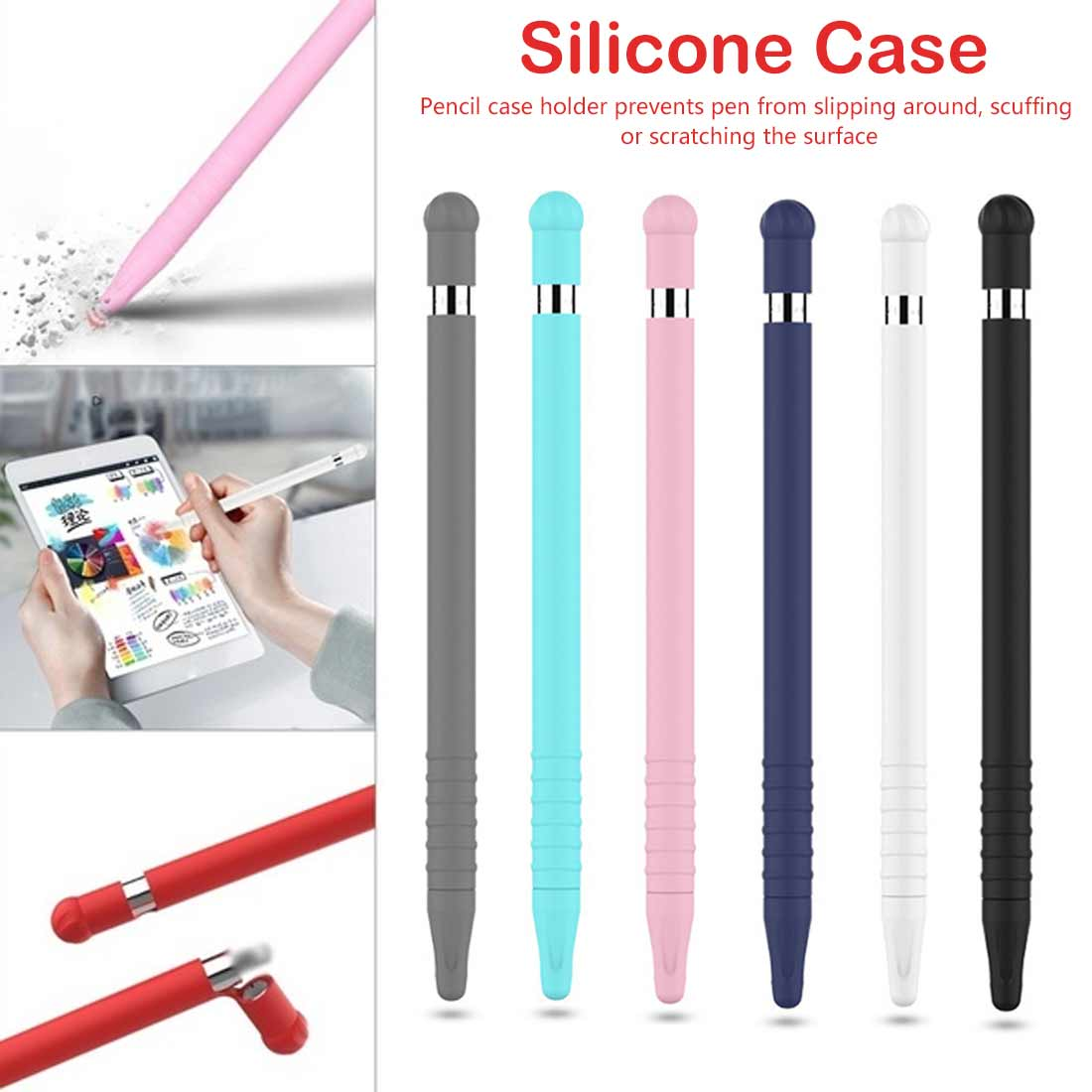 Colorful Soft Silicone Compatible For Pencil Case Compatible For iPad Tablet Touch Pen Stylus Protective Sleeve Cover
