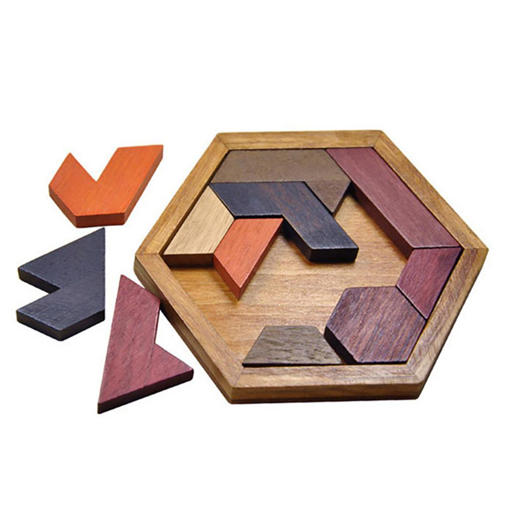 Kuulee Funny Puzzles Wood Geometric Abnormality Shape Puzzle Wooden Toys Tan-gram/Jigsaw Board Kids Children Educational Toys