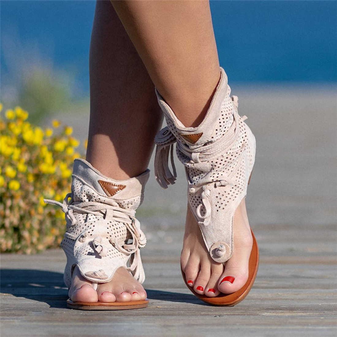 2020 Mới Võ Sĩ Giác Đấu Giày Sandal Nữ Mùa Hè Viền Hoa Giày Đế Xuồng Cao Cấp La Mã Dép Đi Biển Kẹp Ngón Chân Xỏ Giày