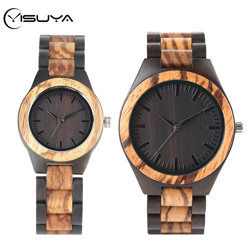YISUYA Men's Watches Simple Wood Watch Full Wooden Adjustable Patchwork Band Quartz Wristwatch 2020 Clock Male Hour Montre Homme