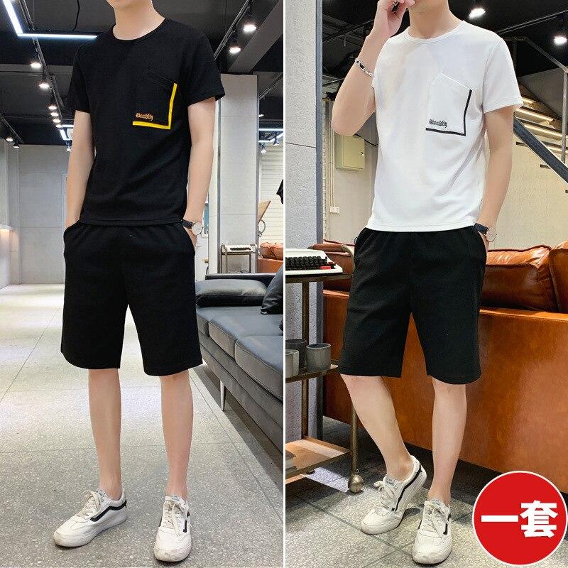 Summer Set Men's Trend Korean-style Loose-Fit Popular Brand Collocation Hip Hop Leisure Suit Sports Clothing Two-Piece Set MEN'S