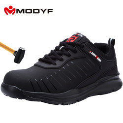 Modyf sapatos de trabalho de segurança de dedo do pé de aço masculino leve respirável anti-smashing antiderrapante construção calçado de proteção