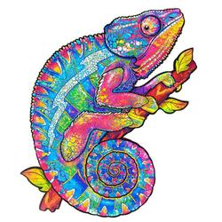 Unique Wooden animal Jigsaw Puzzles Mysterious Chameleon 3D Puzzle Gift Fabulous Gift Interactive Toy For Adults Kid Educational