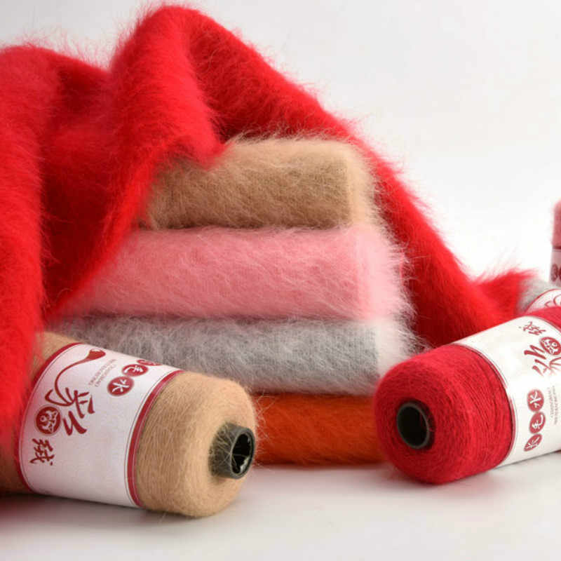 100 + 40g 긴 봉 제 손 뜨개질 밍 크 캐시미어 원사 여자에 대 한 카디 건 스웨터 모자에 대 한 고품질 여분의 부드러운 크로 셰 뜨개질 스레드