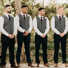 Gray Groom Vests Wool Herringbone Tweed Groomsmen Vest Slim Fit Mens Dress Attire Suit Vest Prom Wedding Party Waistcoat