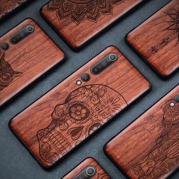 Real Wood Mi 10 Case For Xiaomi Mi Note 10 Pro Case Wood Mi 9t 9 lite Cover TPU Coque For Redmi note 8 pocophone f2 pro Case