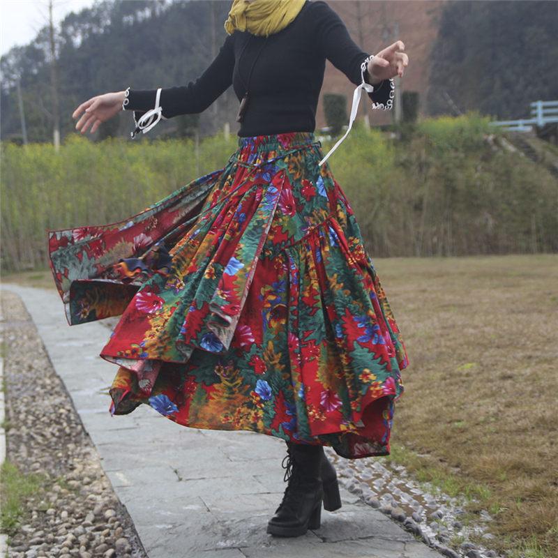 Spring Ethnic Style Trend Flower Print Long Cotton Linen Skirt Women Elastic Waist Autumn Irregular Maxi Skirt flada Mujer f2663