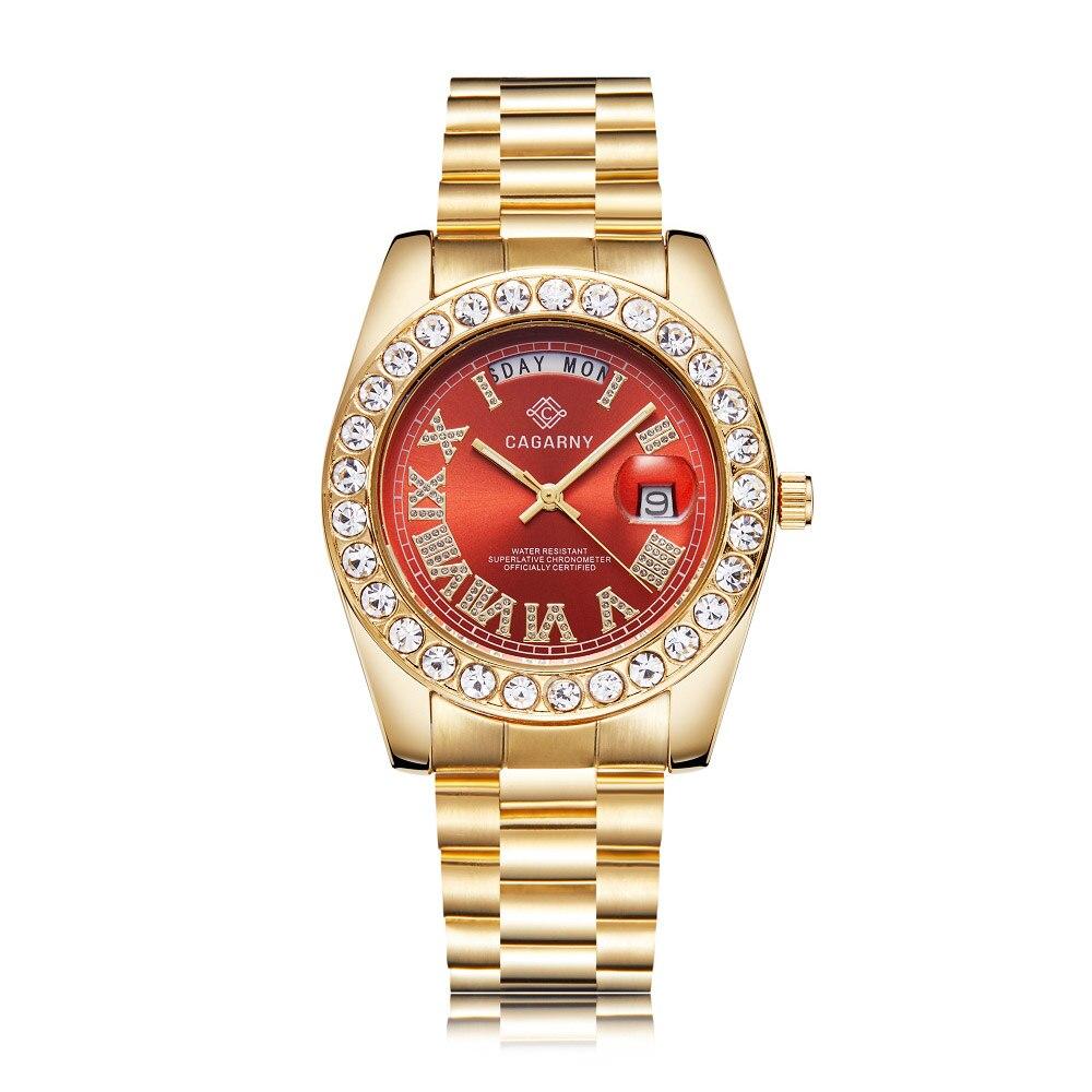 Image 2 - Luxury Crystal Diamond Gold Watch Men Quartz Stainless Steel Men Watches Calendar Date Week Waterproof Top Brand Wristwatch MaleQuartz Watches   -