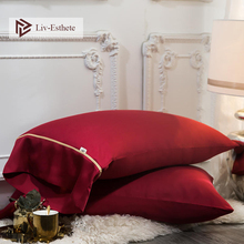 Liv-Esthete Women Luxury 25 Momme 100% Silk Red Pillowcase Beauty Healthy Hair Pillow case Standard For Man Bed Pillow Cover