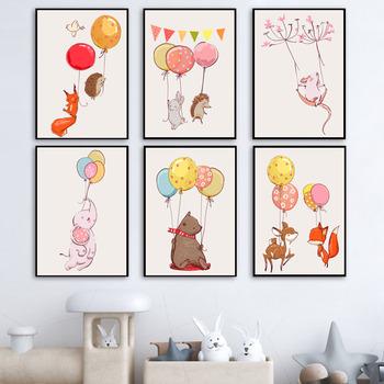 Fox Baby Elephant Bear Deer królik ściana z balonami drukowany obraz na płótnie malarstwo plakat skandynawski zdjęcia ścienny dekoracja ścienna pokoju dziecięcego tanie i dobre opinie 7-Space CN (pochodzenie) Wydruki na płótnie Pojedyncze PŁÓTNO Wodoodporny tusz Zwierząt bez ramki Nowoczesne Canvas Painting
