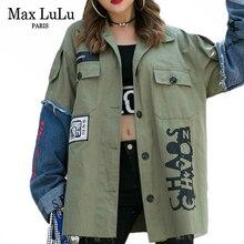 Max LuLu moda estilo coreano otoño señoras Punk ropa mujer Patchwork impreso chaquetas Denim Vintage militar abrigos talla grande