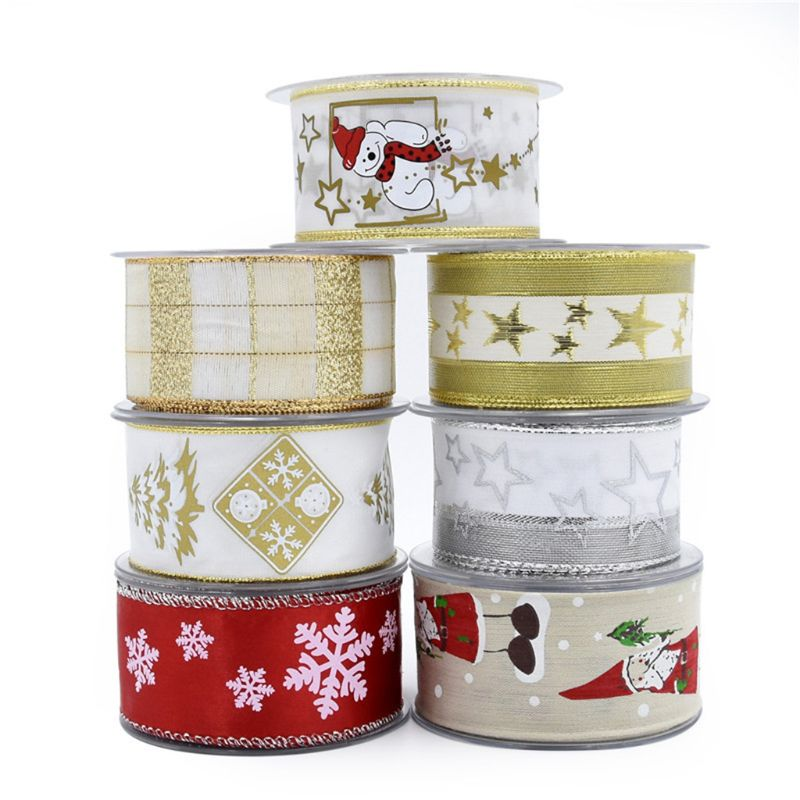 10m Wired Christmas Ribbon Polyester Sheer Glitter Colorful Snowflake DIY Crafts 40JF