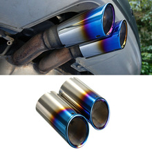 Universal Car Exhaust Muffler Tip Round Stainless Steel Pipe Tail  Roast Blue