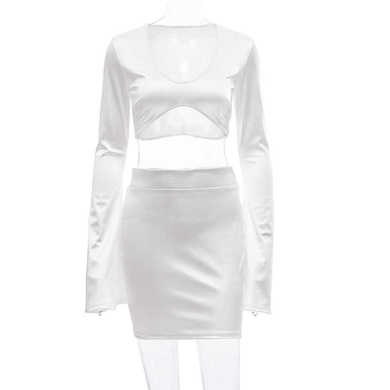 好園セクシーなサテンツーピースセット女性フェスティバル Clother フレアスリーブクロップトップとスカートスーツ誕生日クラブ衣装マッチングセット