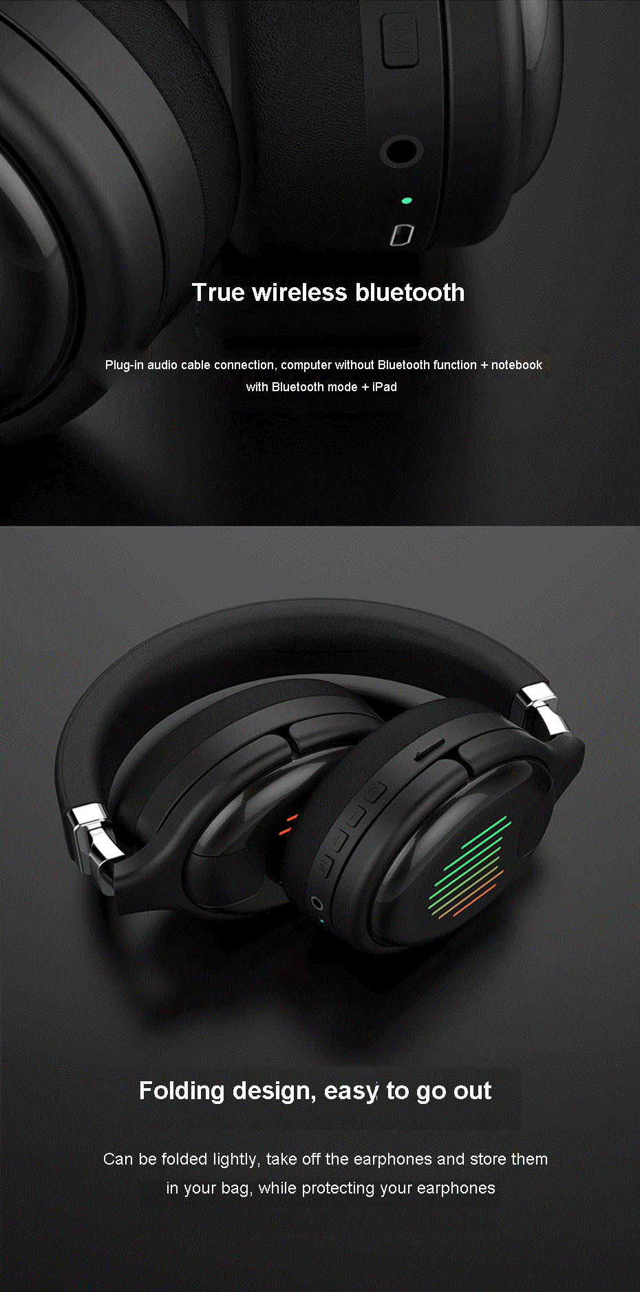 Wireless Headphones Bluetooth Earphones Led Gaming Bass Stereo Headsets Foldable Support Tf Card Noise Reduction Headphones Bluetooth Earphones Headphones Aliexpress