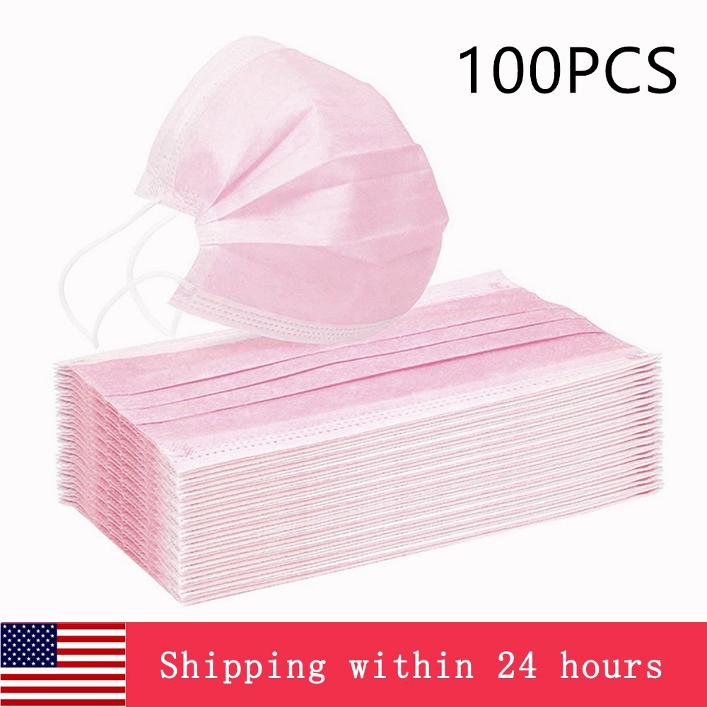 10/50/100/200PCS Disposable Mask 3 Layers Meltblown Non-Woven Anti-Dust Protective Face Mouth Masks Blue While Black Pink Gray