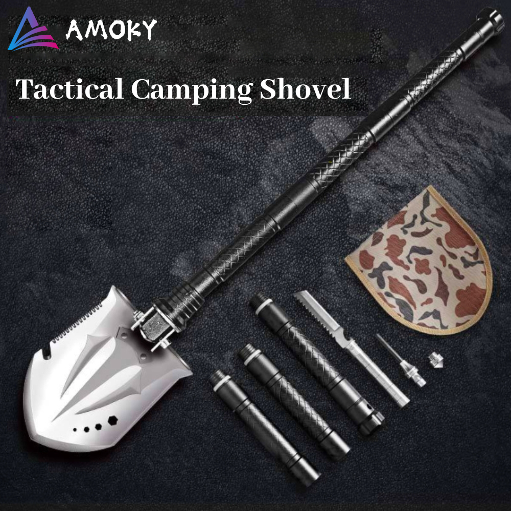 AMKOY Outdoor Tactical Camping Shovel Large Thicken Blade Multitool Folding Shovel Lifter Shovel Outdoor Emergency Camping Tool