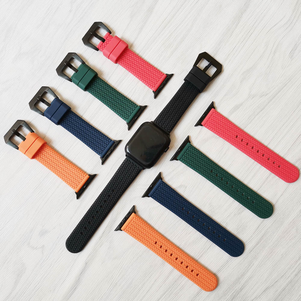 Watch Bands For Apple Watch Series 5 4 3 2 1 40mm 44mm Rubber Tire Pattern Watch Strap Bracelet For IWatch 38mm 42mm Accessories