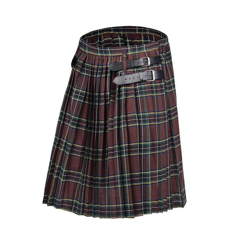 2020 Schotse Heren Kilt Traditionele Plaid Riem Geplooid Bilaterale Chain Brown Gothic Punk Schotse Tartan Broek