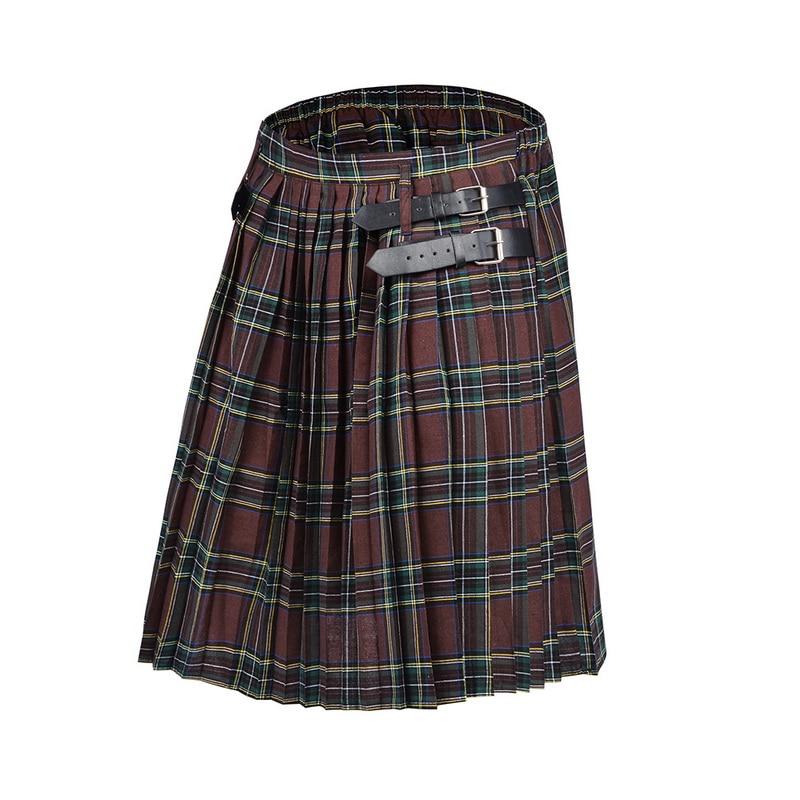 2020 Scottish Mens Kilt Traditional Plaid Belt Pleated Bilateral Chain Brown Gothic Punk Scottish Tartan Trousers