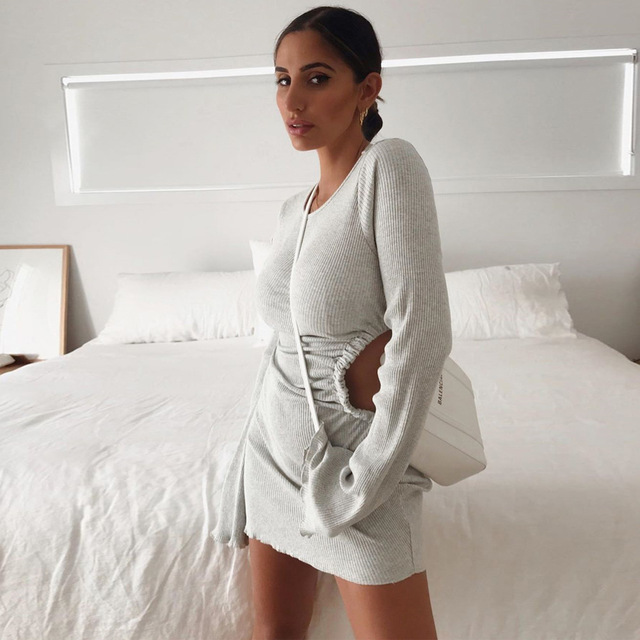 Autumn Draped Flare Sleeve Cut-Out Mini Dresses Knitting Round Neck Ruched Dress Skinny Chic Casual Streetwear 3