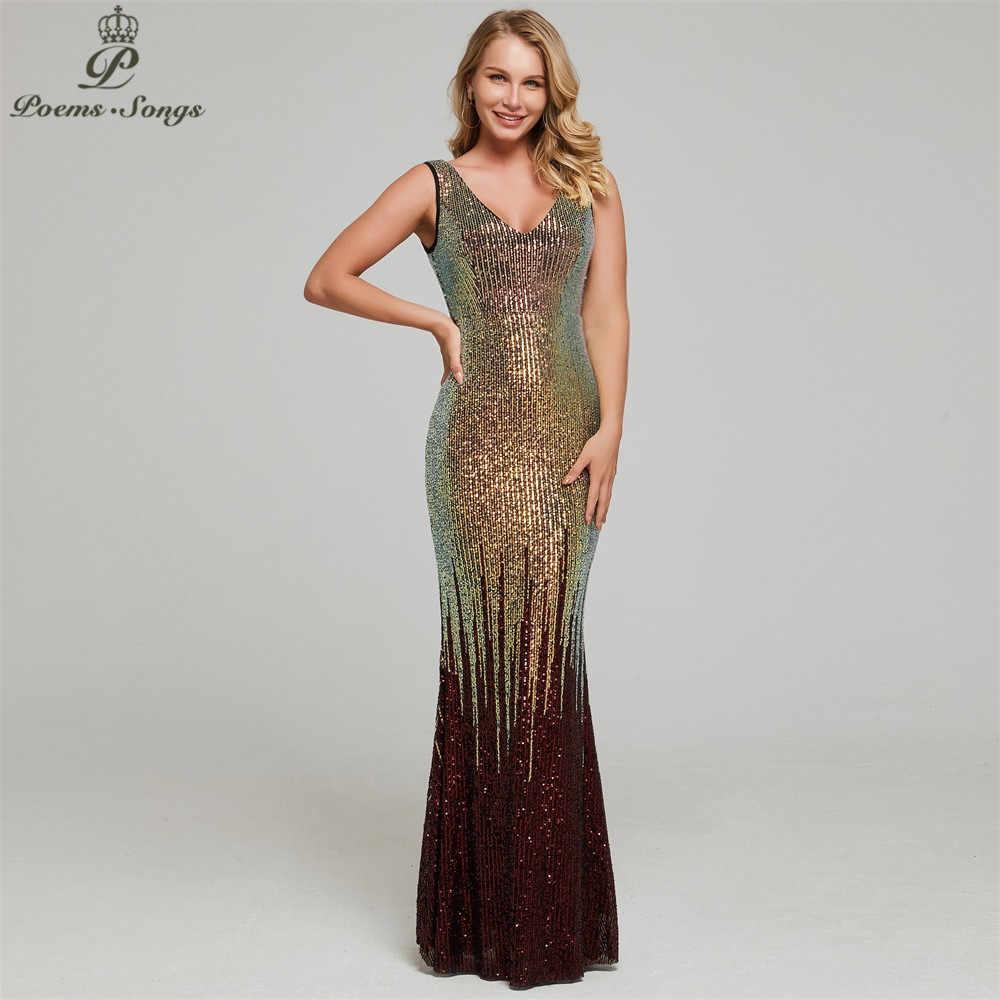 Nieuwe Sexy Shining sequin avondjurk vestidos de gala robe de soiree avondjurken voor vrouwen Party prom jurken 2019