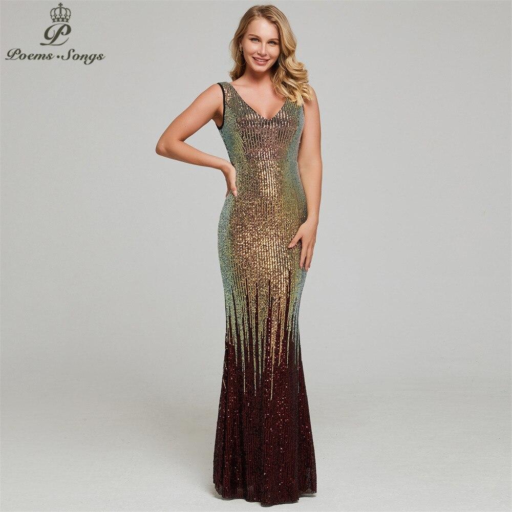 Nouveau Sexy brillant sequin robe de soirée vestidos de gala robe de soirée robes de soirée pour les femmes fête robes de bal 2019
