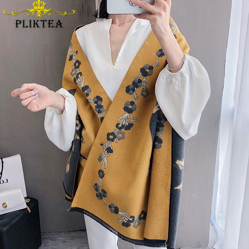 2019 New Flower Print Yellow Women's Scarf Shawl Floral Poncho Female Winter Blanket Scarves Faux Cashmere Stole Pink Wool Wrap