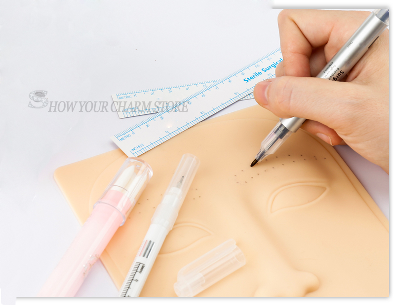 Tattoo Practice Skin Kit Surgical  Marker Eyebrow Marker Pen Kit Tattoo Skin Marker Pen Microblading Positioning Tool