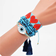 ZHONGVI Turkish Evil Eye Bracelet Boho Chic Jewelry Pulsera Mujer 2019 Delica MIYUKI Bracelet Crystal For Women Tassel Handwoven chic faux crystal skull bracelet with ring for women