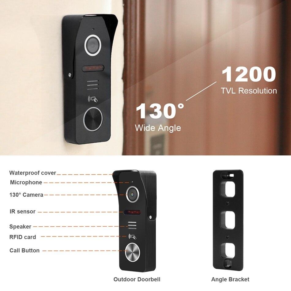 HomeFong 7 pollici Video telefono del Portello del Sistema di Movimento di Sostegno Rileva La Registrazione 130 ° Campanello Della Macchina Fotografica per la casa di video campanello Con blocco - 3
