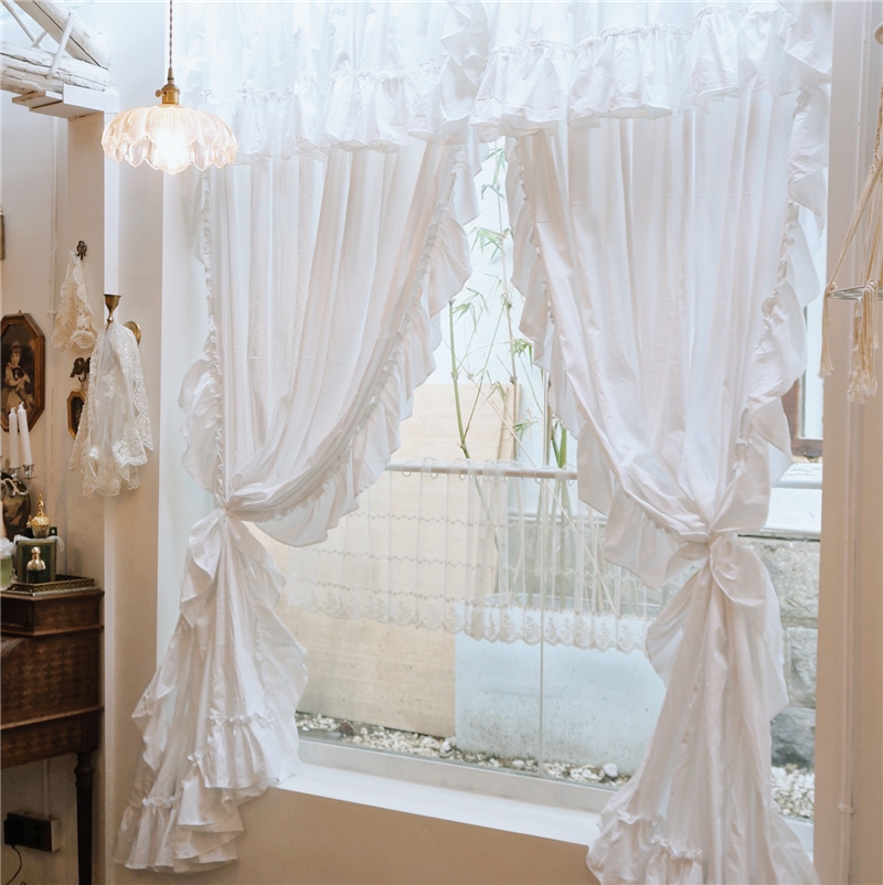 French Style White Cotton Curtains with Valance for Living Room Ruffles Rod Pocket Solid Color Window Curtain for Girl's Bedroom