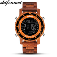 Shifenmei Watches Men 2019 Military Watch LED Digital Wooden Sport Watches Outdoor Male Alarm Clock Wood Mens Wrist Watches 5558