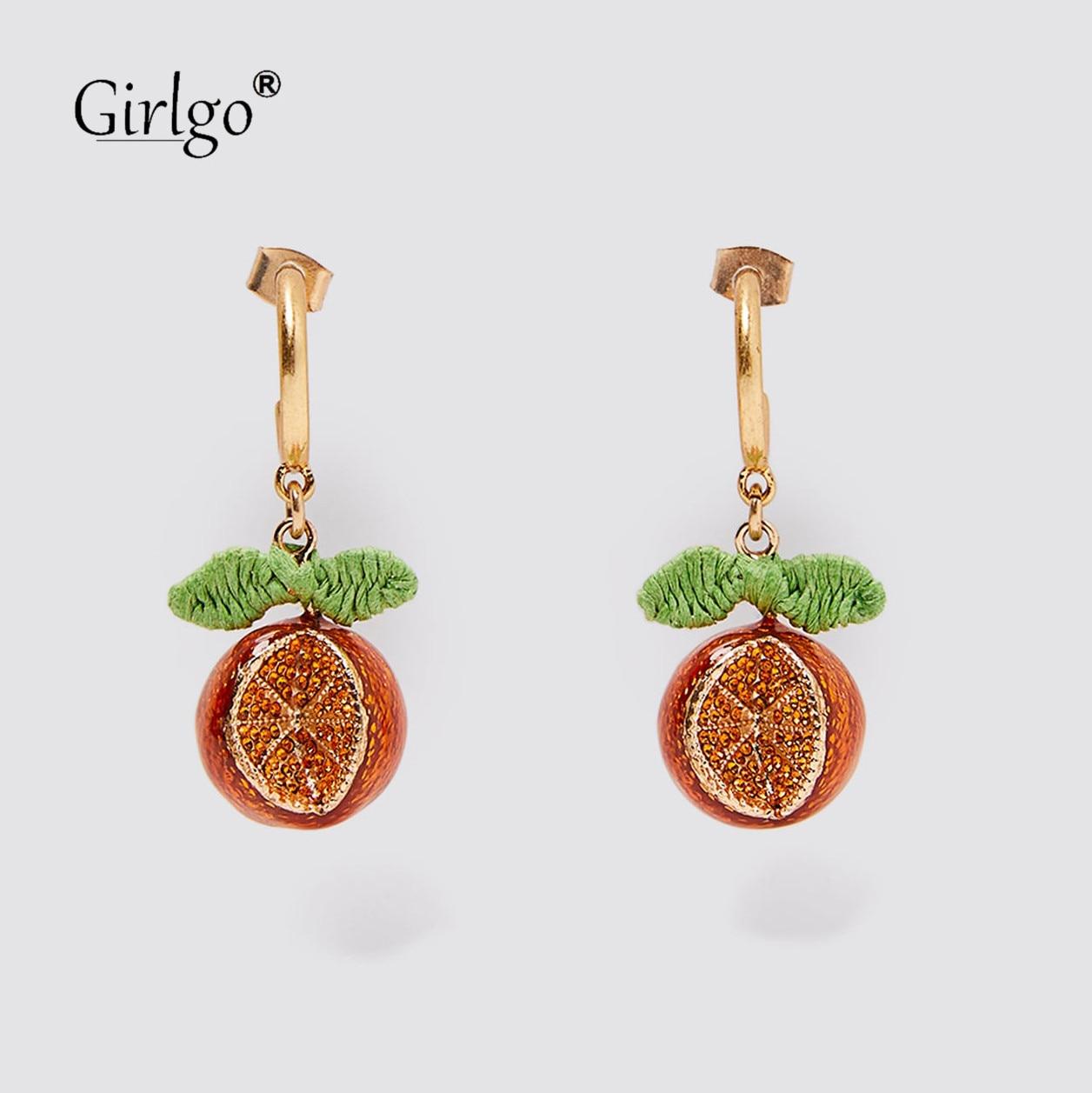 Girlgo Special Za Orange Dangle Drop Earrings For Women Fruit Statement Red Shell Fish Hanging Earrings Colorful Stone Ear Gifts