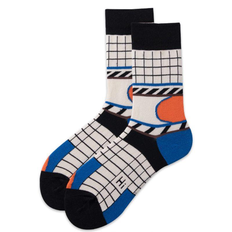 American Men Women Cotton Long Crew Socks Vintage Plaid Contrast Color Patchwork Hip Hop Street Skateboard Hosiery