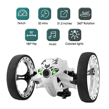 цена на New RC Car Bounce Car Remote Control Toys RC Robot 80cm High Jumping Car Radio Controlled Cars Machine LED Night Toys Kids Gifts