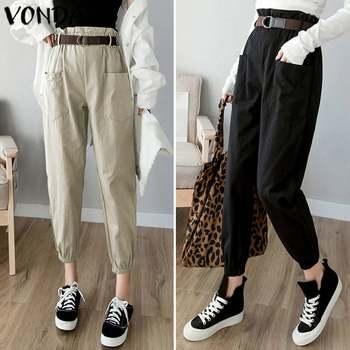 Women Pants Casual Elastic Waist Pleated Ankle-Length Pants VONDA 2020 Autumn Summer Female Trousers Plus Size Bottoms S-5XL